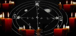 tableau figuratif de l'opération, pantacle composé de cercles concentriques, de triangles et de quarts de cercles reliés aux cercles principaux